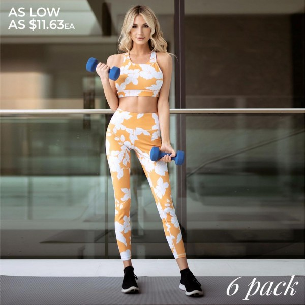 "Women's Active Orange Floral Blossom Workout Leggings.  • High rise pocket waistband • Flat lock stitching, 4-way stretch fabric • Moisture wick fabric • Floral print design • Stretchy and comfortable • Fits like a glove • Pull on/off styling • Great for low-high impact workouts • Imported  - Pack Breakdown: 6pcs/pack - Sizes: 2-S / 2-M / 2-L  - Inseam approximately 27"" L - 46% Polyester, 41% Nylon, 13% Spandex"