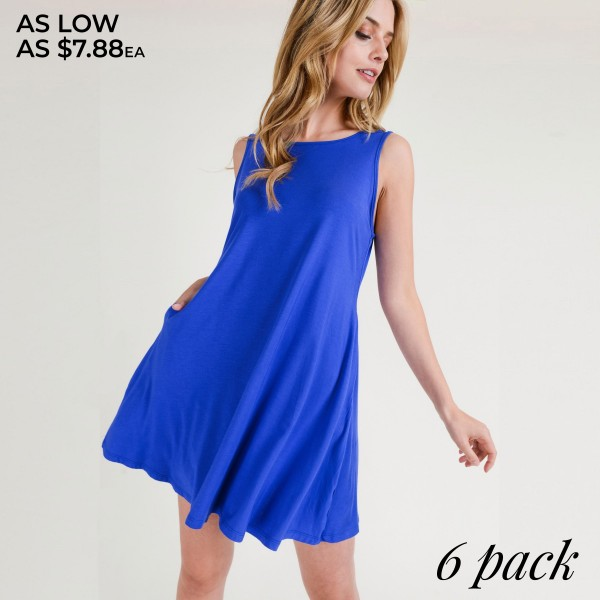"""Women's sleeveless dress with open back criss cross detail and side pockets.  • Sleeveless • Round neck • Two open side pockets • A-line silhouette • Knee length hem • Soft and stretchy • Low cut back with criss-cross straps • Imported  - Pack Breakdown: 6pcs/pack - Sizes: 2-S / 2-M / 2-L - Approximately 29"""" L - 95% Rayon, 5% Spandex"""