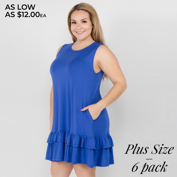 """Women's Plus Size Solid Color Sleeveless Ruffle Pocket Dress.  • Sleeveless • Crew neck • Side pockets keep  • Ruffled hem • Knee length • Soft and comfortable fabric  • Pull on styling • Style with heels for a night out • Imported  - Pack Breakdown: 6pcs/pack - Sizes: 2-XL / 2-2XL / 2-3XL - Approximately 34"""" L - 95% Rayon / 5% Spandex"""