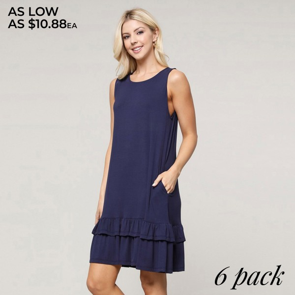 "Women's Solid Color Sleeveless Ruffle Pocket Dress.  • Sleeveless • Crew neck • Side pockets keep your hands warm • Ruffled hem • Knee length • Soft and comfortable fabric with stretch • Pull on styling • Style with heels for a night out • Imported  - Pack Breakdown: 6pcs/pack - Sizes: 2-S / 2-M / 2-L - Approximately 30"" L - 95% Rayon / 5% Spandex"