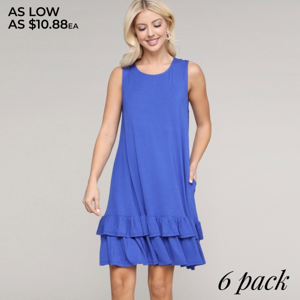 "Women's Sleeveless Ruffle Pocket Dress.  • Sleeveless • Crew neck • Side pockets keep your hands warm • Ruffled hem • Knee length • Soft and comfortable fabric with stretch • Pull on styling • Style with heels for a night out • Imported  - Pack Breakdown: 6pcs/pack - Sizes: 2-S / 2-M / 2-L - Approximately 30"" L - 95% Rayon / 5% Spandex"