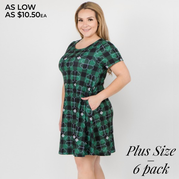 "Women's Plus plaid St. Patrick's dress with side pockets.  • Short sleeves • Round neckline • Side pockets keep your hands warm • A-line silhouette • Plaid clover print • Above the knee length hem • Soft and stretchy fabric • Pullover styling • Imported  - Pack Breakdown: 6pcs/pack - Sizes: 2-XL / 2-2XL / 2-3XL - Approximately 34"" L - 95% Polyester, 5% Spandex"