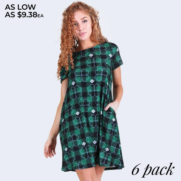 "Women's plaid St. Patrick's clover dress with side pockets.  • Short sleeves • Round neckline • Side pockets keep your hands warm • A-line silhouette • Plaid clover print • Above the knee length hem • Soft and stretchy fabric • Pullover styling • Imported  - Pack Breakdown: 6pcs/pack - Sizes: 2-S / 2-M / 2-L - Approximately 34"" L - 95% Polyester, 5% Spandex"