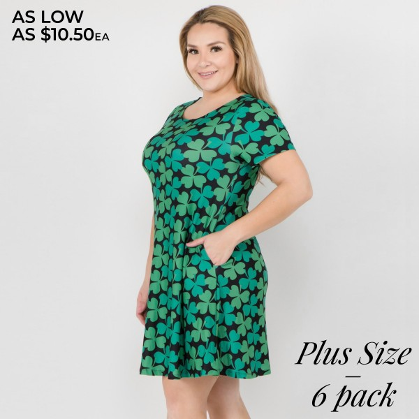 "Women's Plus St. Patrick's clover dress with side pockets.  • Short sleeves • Round neckline • Side pockets keep your hands warm • A-line silhouette • 4-leaf clover print • Above the knee length hem • Soft and stretchy fabric • Pullover styling • Imported  - Pack Breakdown: 6pcs/pack - Sizes: 2-XL / 2-2XL / 2-3XL - Approximately 34"" L - 95% Polyester, 5% Spandex"