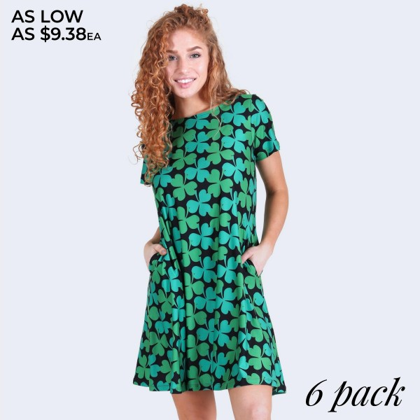 "Women's St. Patricks clover dress with side pockets.  • Short sleeves • Round neckline • Side pockets keep your hands warm • A-line silhouette • 4-leaf clover print • Above the knee length hem • Soft and stretchy fabric • Pullover styling • Imported  - Pack Breakdown: 6pcs/pack - Sizes: 2-S / 2-M / 2-L - Approximately 34"" L - 95% Polyester, 5% Spandex"