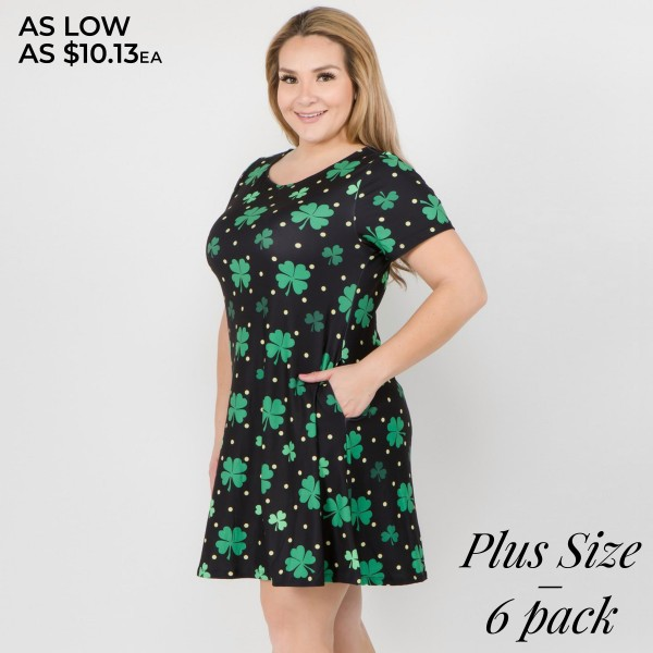 """Women's Plus St. Patrick's polka dot dress with side pockets.  • Short sleeves • Round neckline • Side pockets keep your hands warm • A-line silhouette • Polka dot and clover print • Above the knee length hem • Soft and stretchy fabric • Pullover styling • Imported  - Pack Breakdown: 6pcs/pack - Sizes: 2-XL / 2-2XL / 2-3XL - Approximately 34"""" L - 95% Polyester, 5% Spandex"""
