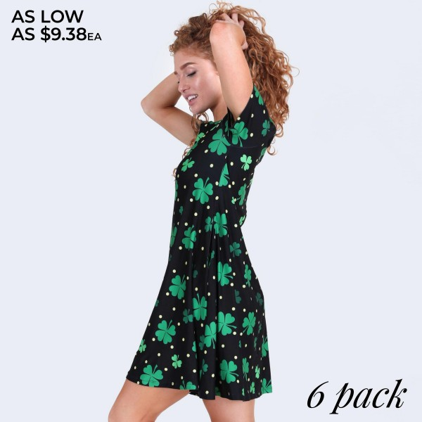 """Women's St. Patricks polka dot dress with side pockets.  • Short sleeves • Round neckline • Side pockets keep your hands warm • A-line silhouette • Polka dot and clover print • Above the knee length hem • Soft and stretchy fabric • Pullover styling • Imported  - Pack Breakdown: 6pcs/pack - Sizes: 2-S / 2-M / 2-L  - Approximately 34"""" L - 95% Polyester, 5% Spandex"""
