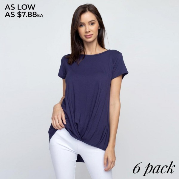 "Women's short sleeve solid pleat hem top.  • Short sleeves • Crew neck • Pleat hem detail • Relaxed fit • Soft and comfortable fabric with stretch • Pull over styling • Imported  - Pack Breakdown: - Sizes: 2-S / 2-M / 2-L - Approximately 29"" L - 95% Polyester, 5% Spandex"