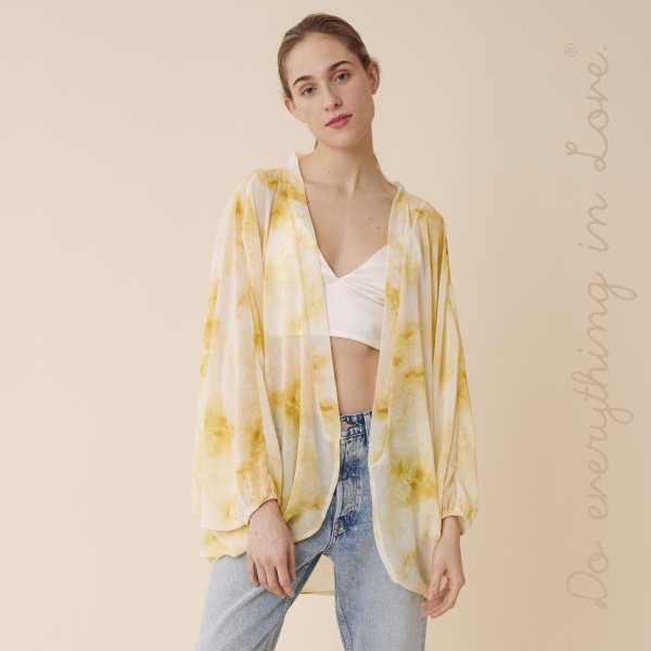 Wholesale do everything Love brand women s lightweight sheer tie dye print kimon