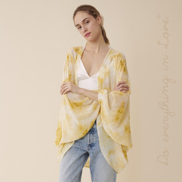 "Do everything in Love brand women's lightweight sheer tie-dye print kimono.  - One size fits most 0-14 - Approximately 33"" L - 100% Polyester"