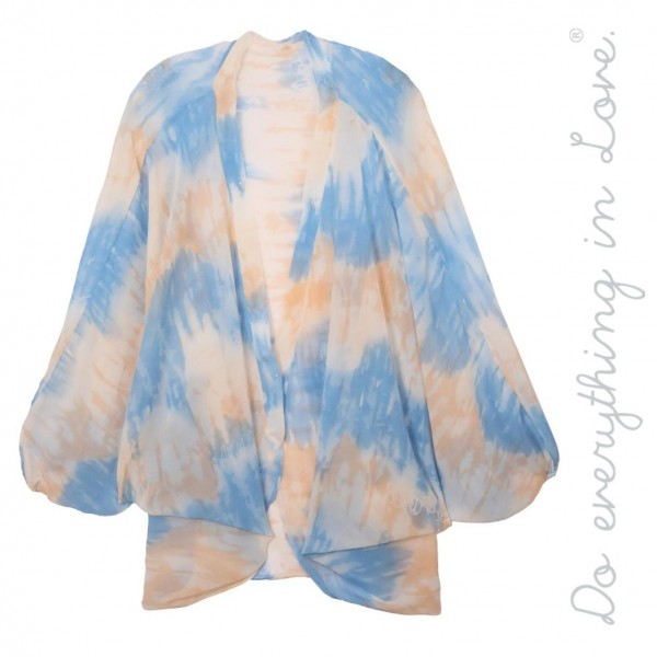 "Do everything in Love brand women's lightweight sheer tie-dye kimono.  - One size fits most 0-14 - Approximately 33"" L - 100% Polyester"