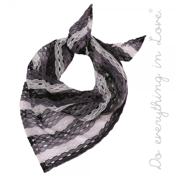 "Do everything in Love brand lightweight crochet multicolor stripe bandana scarf.  - Approximately 15"" W x 34"" L - 100% Polyester"