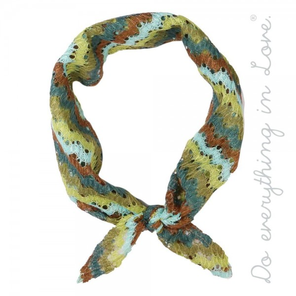 """Do everything in Love brand lightweight zigzag crochet bandana scarf.  - Approximately 15"""" W x 34"""" L - 100% Polyester"""