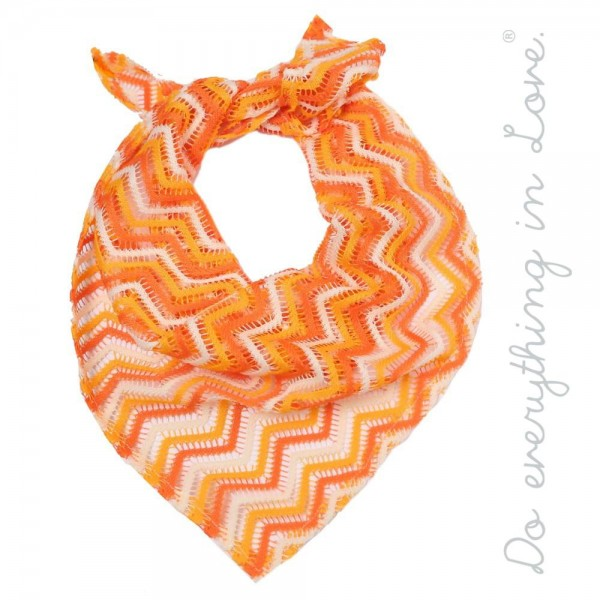 "Do everything in Love brand lightweight zigzag crochet bandana scarf.  - Approximately 15"" W x 34"" L  - 100% Polyester"