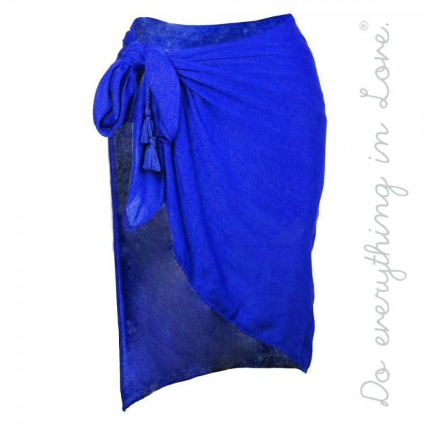 Wholesale do everything Love brand solid lightweight sarong wrap side tassel tie