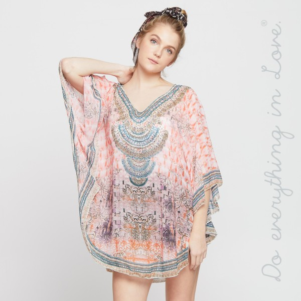 """Do everything in Love brand women's lightweight Pink sheer ancient print rhinestone cover up top.  - One size fits most 0-14 - Approximately 33"""" L - 100% Polyester"""