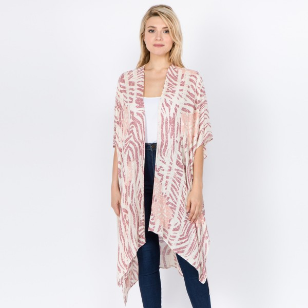 "Women's lightweight floral zebra print kimono.  - One size fits most 0-14 - Approximately 37"" L  - 100% Viscose"