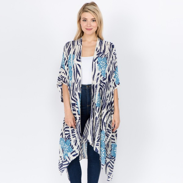 "Women's Lightweight Floral Zebra Print Kimono..  - One size fits most 0-14 - Approximately 37"" L  - 100% Viscose"