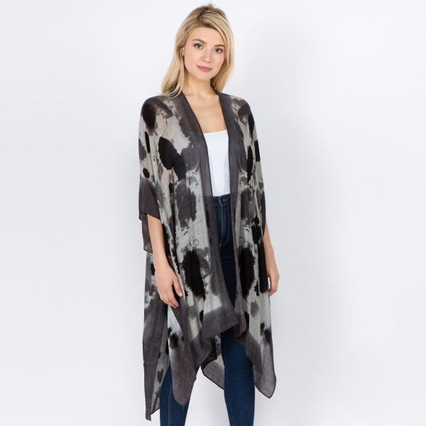 "Women's Lightweight Abstract Tie-Dye Kimono.  - One size fits most 0-14 - Approximately 37"" L - 100% Viscose"