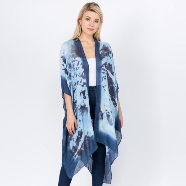 "Women's lightweight Blue tie-dye print kimono.  - One size fits most 0-14 - Approximately 37"" L  - 100% Viscose"