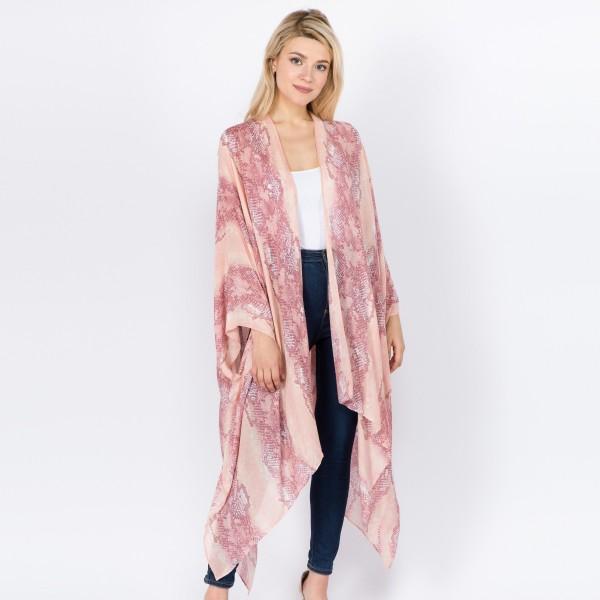 "Women's lightweight snakeskin kimono.  - One size fits most 0-14 - Approximately 37"" L - 100% Viscose"
