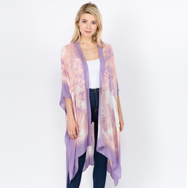 "Women's lightweight tie-dye print kimono.  - One size fits most 0-14 - Approximately 37"" L - 100% Viscose"