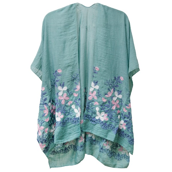 """Women's Lightweight Soft Floral Embroidered Kimono.  - One size fits most 0-14 - Approximately 33"""" L - 100% Viscose"""