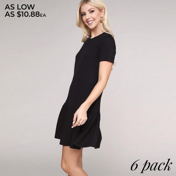 "Women's Solid Ruffle Trim Dress.  • Short sleeves • Crew neckline • Side pockets for keeping your hands warm • Ruffle hemline • Soft and comfortable fabric • Perfect for styling with sandals or heels • Imported  - Pack Breakdown: 6pcs/pack - Sizes: 2-S / 2-M / 2-L - Approximately 34""L - 62% Polyester, 34% Rayon, 4% Spandex"