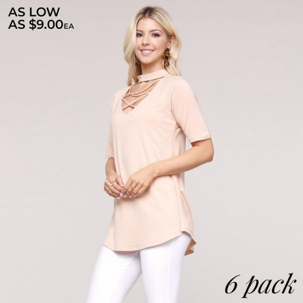 "Women's Solid Color Criss Cross Detail Choker Neck Tunic Top.  • Short sleeves • Choker neck with cross-cross straps • Scoop hem • Soft and stretchy • Pullover styling • Imported  - Pack Breakdown: 6pcs/pack - Sizes: 2-S / 2-M / 2-L - Approximately 30"" L - 95% Rayon / 5% Spandex"