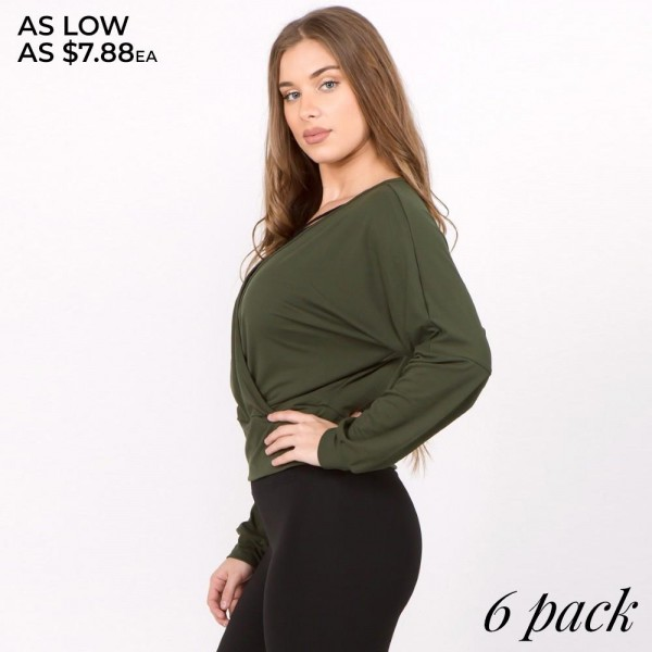 """Women's solid color long sleeve asymmetrical hem tunic top.  • Long sleeves • Round neckline • Asymmetrical hemline • Soft and comfortable fabric with stretch • Perfect for layering with jeans or leggings • Imported  - Pack Breakdown: 6pcs/pack - Sizes: 2-S / 2-M / 2-L - Approximately 30"""" in length  - 95% Rayon, 5% Spandex"""