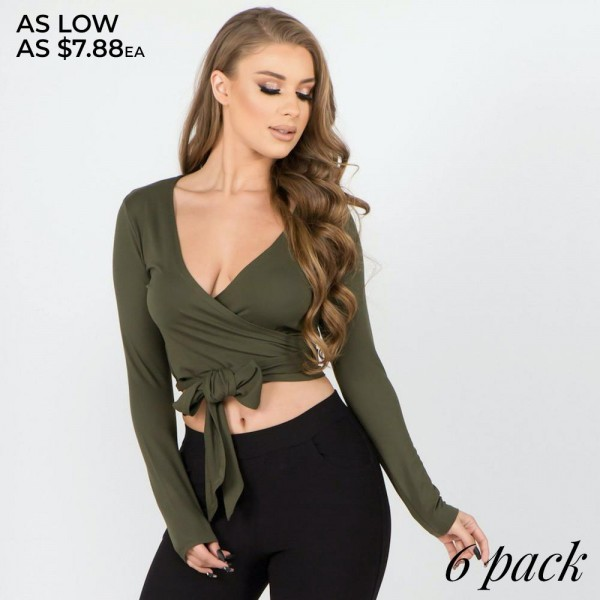 """Women's solid long sleeve v neck wrap tie crop top.  • Long sleeves • Plunge v-neckline • Wrap front with adjustable tie • Crop length hem • Soft and comfortable fabric with stretch • Perfect for layering over bralettes or tank tops • Imported  - Pack Breakdown: 6pcs/pack - Sizes: 2-S / 2-M / 2-L  - Approximately 15"""" L - 95% Polyester, 5% Spandex"""