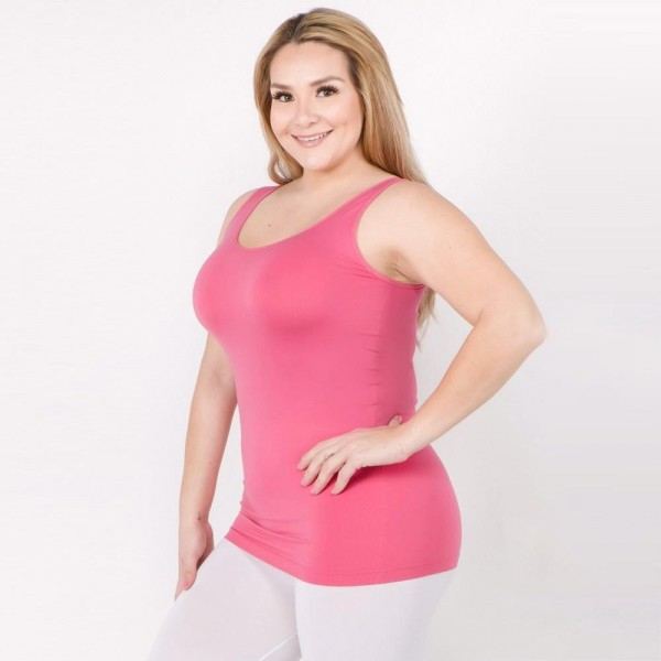 """Women's Plus Size Solid Color Seamless Tank Top.  • Round Neckline • Sleeveless • Curve-Hugging • Body Contouring • Solid Color • Super Soft • Stretchy  - One size fits most plus 16-22 - Approximately 22"""" L  - 92% Nylon / 8% Spandex"""