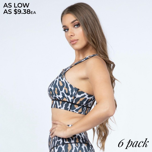 Women's Active Leopard Print Sports Bra.  • High neckline • Leopard print • Racerback design • 4-way stretch for a move with you feel • Moisture wick fabric keeps you cool & dry • Perfect for all low-high impact workouts • Pull Over Style • Compressive Fit • Imported  - Pack Breakdown: 6pcs/pack - Sizes: 2-S / 2-M / 2-L - Body: 46% Polyester / 41% Nylon / 13% Spandex - Lining: 80% Nylon / 20% Spandex / 75% Nylon / 25% Spandex