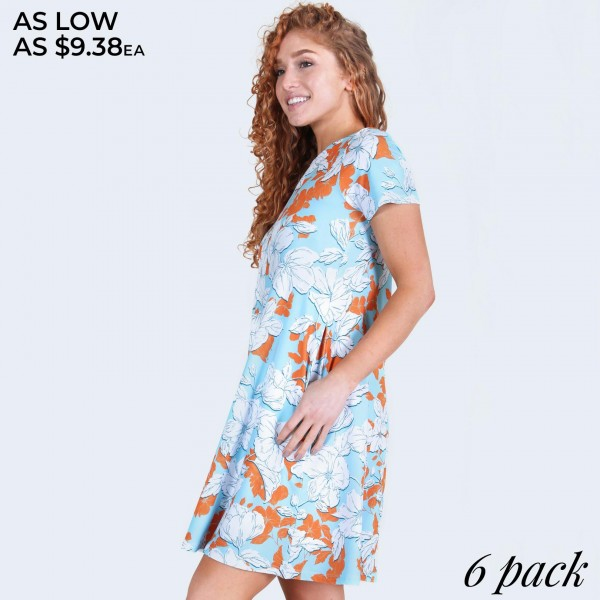 """Women's short sleeve floral blossom dress with pockets.  • Round neckline • Blossom floral print • Short sleeves • Two pockets  • A-line silhouette • Soft and comfortable  • Pullover styling • Imported  - Pack Breakdown: 6pcs/pack - Sizes: 2-S / 2-M / 2-L - Approximately 34"""" L - 95% Polyester, 5% Spandex"""
