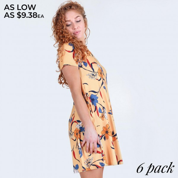 """Women's short sleeve lily blossom dress with pockets.  • Round neckline • Lily blossom print • Short sleeves • Two pockets to  • A-line silhouette • Soft and comfortable  • Pullover styling • Imported  - Pack Breakdown: 6pcs/pack - Sizes: 2-S / 2-M / 2-L  - Approximately 34"""" L - 95% Polyester, 5% Spandex"""