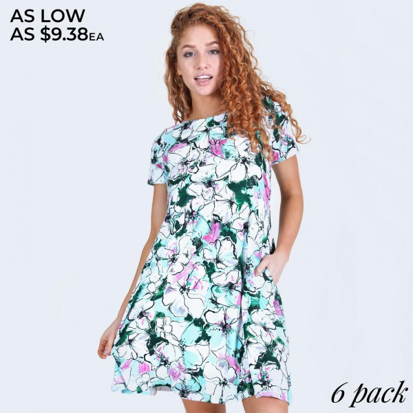 """Women's short sleeve floral blossom dress with pockets.  • Round neckline • Floral blossom print • Short sleeves • Two pockets  • A-line silhouette • Soft and comfortable • Pull on/off design • Pullover styling • Imported  - Pack Breakdown: 6pcs/pack - Sizes: 2-S / 2-M / 2-L - Approximately 34"""" L - 95% Polyester, 5% Spandex"""