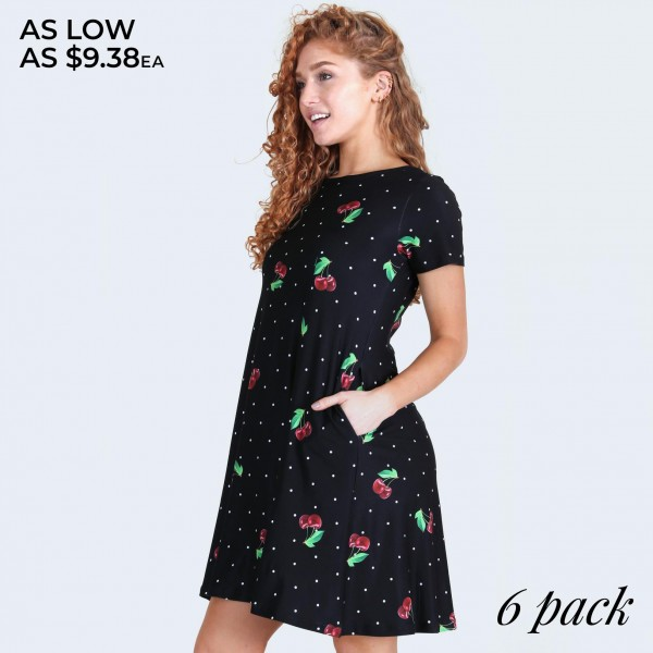 """Women's short sleeve cherry polka dot dress with pockets.  • Round neckline • Cherry print • Short sleeves • Two pockets  • A-line silhouette • Soft and comfortable  • Pull on/off design • Imported  - Pack Breakdown: 6pcs/pack - Sizes: 2-S / 2-M / 2-L  - Approximately 34"""" L  - 80% Nylon, 20% Spandex"""
