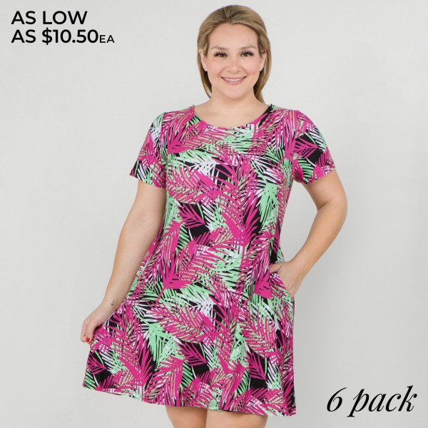 """Women's Plus short sleeve multicolor palm leaf print dress with pockets.  • Round neckline • Palm leaf print • Short sleeves • Two pockets  • A-line silhouette • Soft and comfortable  • Pull on/off design • Pullover styling • Imported  - Pack Breakdown: 6pcs/pack - Sizes: 2-XL / 2-2XL / 2-3XL - Approximately 34"""" L  - 95% Polyester, 5% Spandex"""