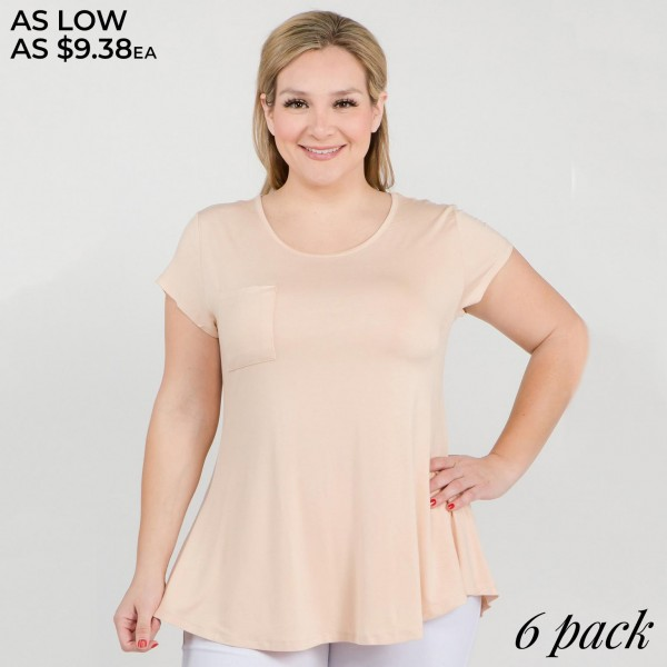 "Women's Plus solid short sleeve pocket tee with keyhole back detail.  • Short sleeves • Crew neck with keyhole accent • Loose fit • Soft and comfortable cotton-blend fabrication • Perfect for styling with jeans or leggings • Imported  - Pack Breakdown: 6pcs/pack - Sizes: 2-XL / 2-2XL / 2-3XL - Approximately 28"" L - 95% Rayon, 5% Spandex"