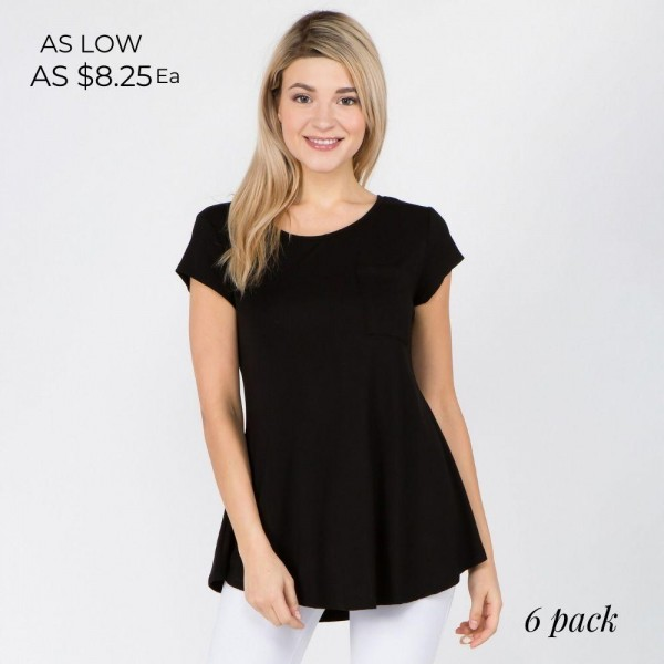 "Women's solid short sleeve pocket tee with keyhole back detail.  • Short sleeves • Crew neck with keyhole accent • Loose fit • Soft and comfortable cotton-blend fabrication • Perfect for styling with jeans or leggings • Imported  - Pack Breakdown: 6pcs/pack - Sizes: 2-S / 2-M / 2-L - Approximately 27"" L - 95% Rayon, 5% Spandex"