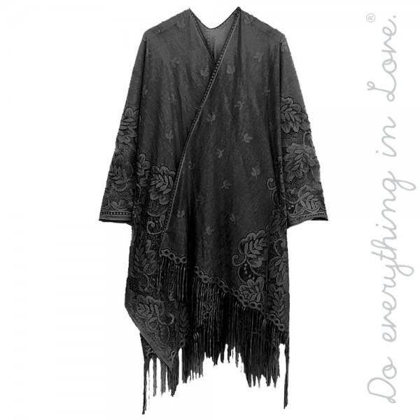 "Do everything in Love Brand Women's Floral Lace Kimono with Tassels.  - One size fits most 0-14 - Approximately 37"" L  - 100% Polyester"