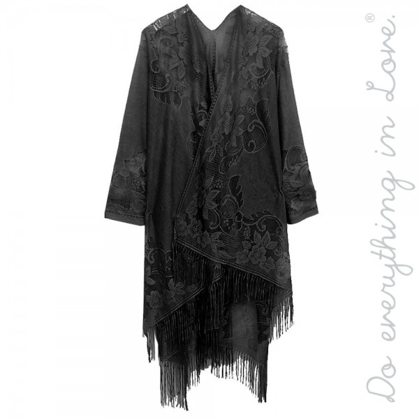 """Do everything in Love Brand Women's Floral Lace Kimono with Tassels.  - One size fits most 0-14 - Approximately 37"""" L  - 100% Polyester"""