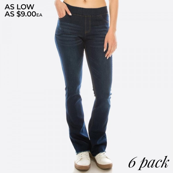 Women's classic Dark Denim pull on style flare pants with frayed hem.