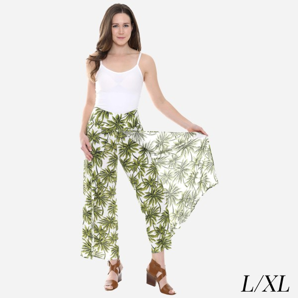 "Women's Tropical Palm Leaf Palazzo Pants.  - 4"" Elastic Waistband - Size: L/XL - Inseam approximately 27"" L - 100% Viscose"