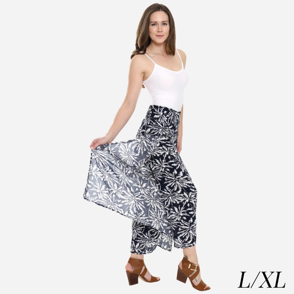 "Women's Navy Tropical Palm Leaf Palazzo Pants.  - 4"" Elastic Waistband - Size: L/XL - Inseam approximately 27"" L - 100% Viscose"