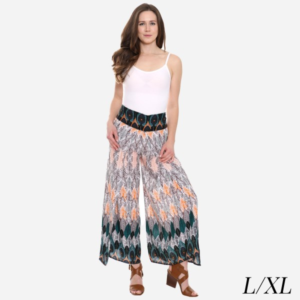 "Women's Peacock Feather Print Palazzo Pants.  - 4"" Elastic Waistband - Size: L/XL - Inseam approximately 27"" L - 100% Viscose"