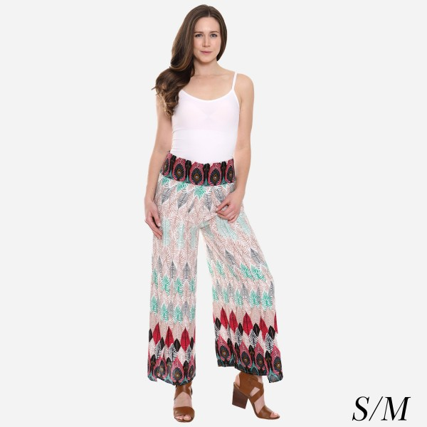 "Women's Peacock Feather Print Palazzo Pants.  - 4"" Elastic Waistband - Size: S/M - Inseam approximately 27"" L - 100% Viscose"
