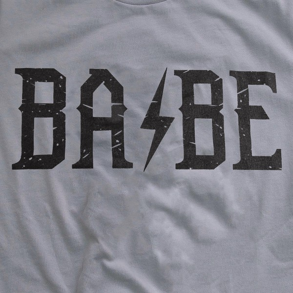 "Storm Grey Bella Canvas brand rock n roll ""BABE"" screen printed boutique graphic tee.  - Pack Breakdown: 6pcs/pack - Sizes: 1S / 2M / 2L / 1XL - 100% Cotton"