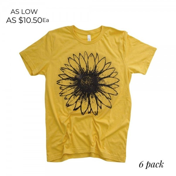 Mustard Bella Canvas Brand Short Sleeve Sunflower Printed Boutique Graphic Tee.  - Pack Breakdown: 6pcs/pack - Sizes: 1-S / 2-M / 2-L / 1-XL - 100% Cotton