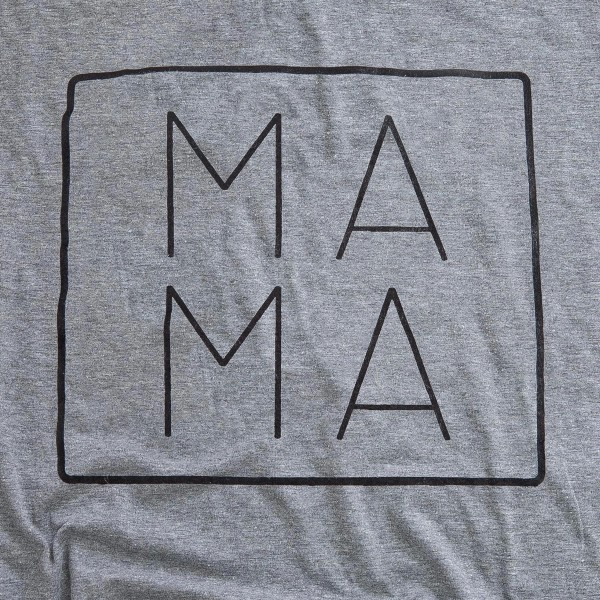 "Heather Grey Anvil Lightweight brand ""MA MA"" screen printed boutique graphic tee.  - Pack Breakdown: 6pcs/pack - Sizes: 1S / 2M / 2L / 1XL - 50% Cotton, 50% Polyester"